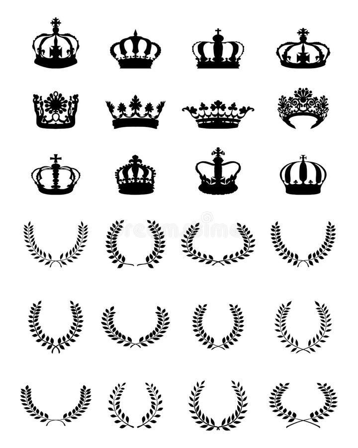 Coronas y guirnaldas ilustración del vector