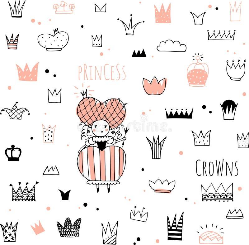Coronas y princesa dibujadas mano del garabato ilustración del vector