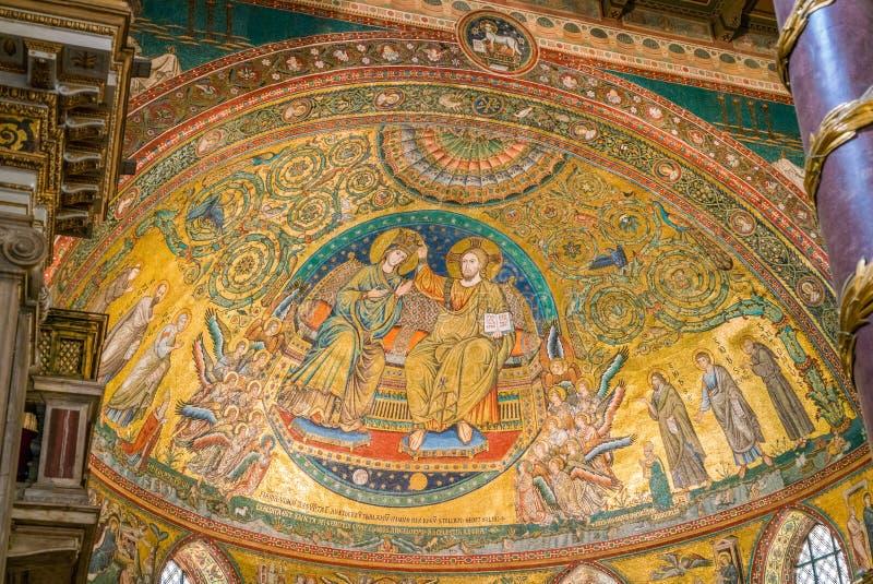 Coronation της Virgin, μωσαϊκό από Jacopo Torriti στη βασιλική της Σάντα Μαρία Maggiore στη Ρώμη, Ιταλία στοκ εικόνες με δικαίωμα ελεύθερης χρήσης