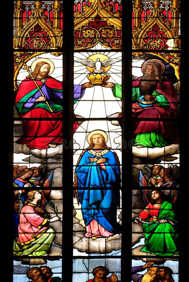 Coronation of the Blessed Virgin Mary. Stained glass in Zagreb cathedral dedicated to the Assumption of Mary in Zagreb royalty free stock images