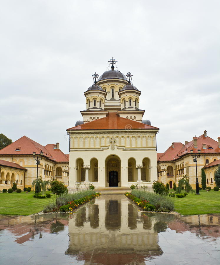 Coronation Cathedral in Alba Iulia. Known as Reunification Cathedral, front side royalty free stock photo