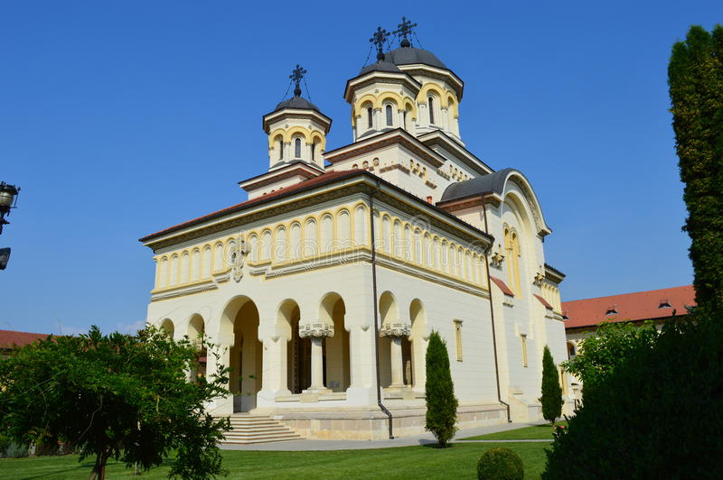 Coronation Cathedral Alba Iulia, Transylvania, Romania, Romania. Landscape with Coronation Cathedral town Alba Iulia, Transylvania, Romania stock images