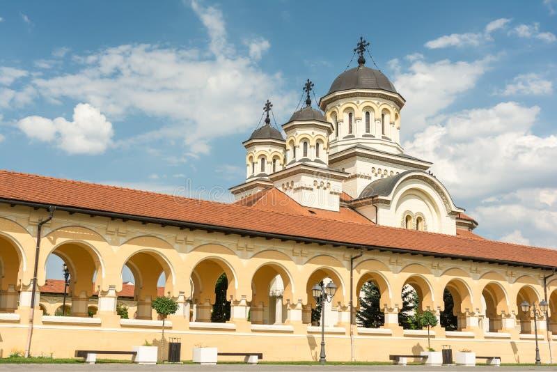 The Coronation Cathedral. In Carolina White Fortress Of Alba Iulia City In Romania royalty free stock photos
