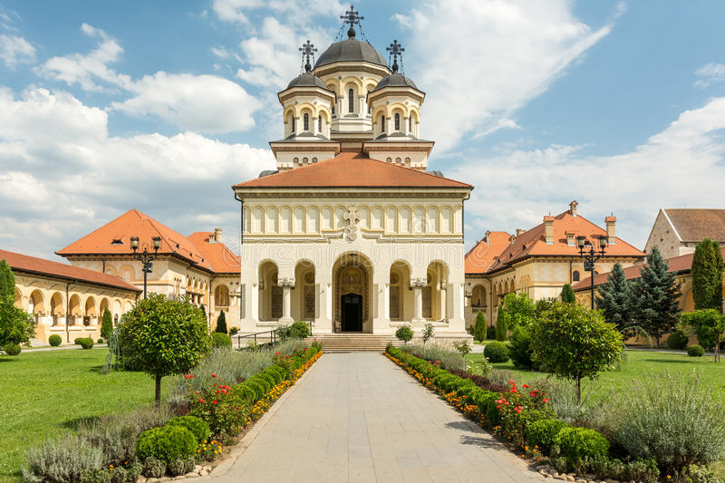 The Coronation Cathedral. In Carolina White Fortress Of Alba Iulia City In Romania royalty free stock images