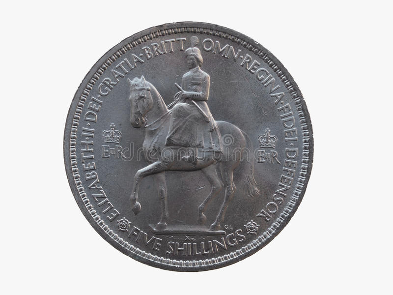Coronation crown coin (1953). Coronation crown - commemorative 5 shillings coin (GBP) released in 1953, for the coronation of Queen Elizabeth II royalty free stock photography
