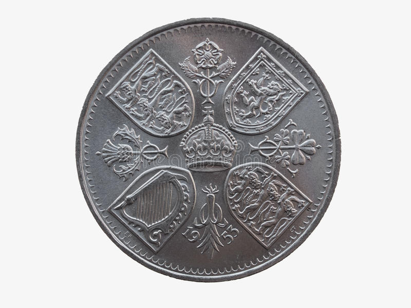 Coronation crown coin (1953). Coronation crown - commemorative 5 shillings coin (GBP) released in 1953, for the coronation of Queen Elizabeth II royalty free stock photo