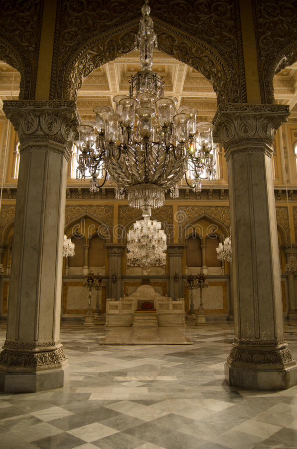 Coronation Hall, Chowmahalla Palace. Khilwat Mubarak, the site of the coronation of VIII Nizam of Hyderabad. Durbars and other events were held in this historic royalty free stock image