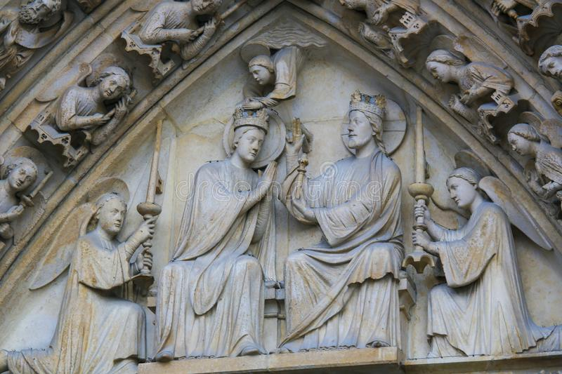 Coronation of Mary by Christ at Notre Dame, Paris stock image