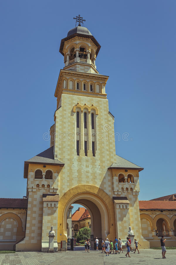 Coronation Orthodox Cathedral, Alba Iulia, Romania. Alba Iulia, Romania - July 24, 2016: Coronation Cathedral, dedicated to the Holy Trinity and Holy Archangels stock photos