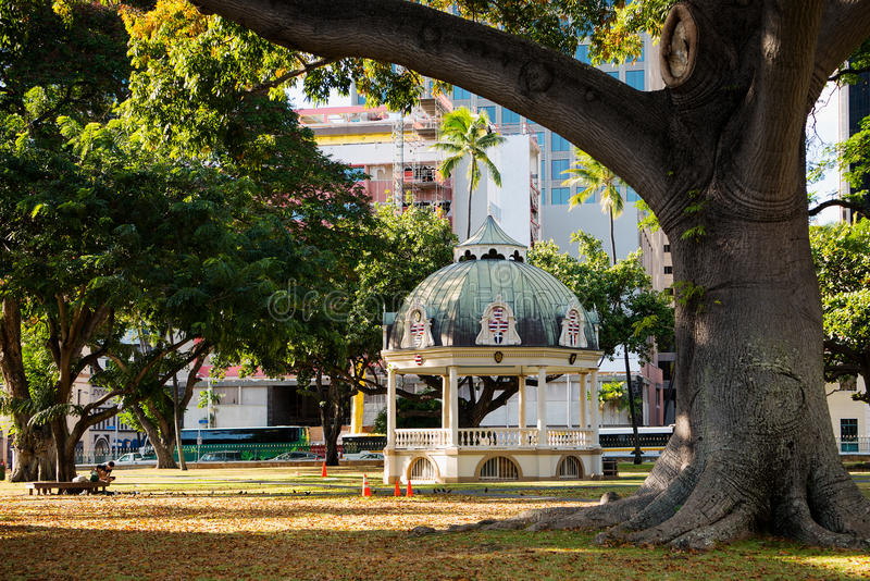 Coronation Pavilion of Iolani Palace. King Kalakaua and queen Kapiolani were crowned at a coronation ceremony on February 12, 1883 in this structure on the stock image