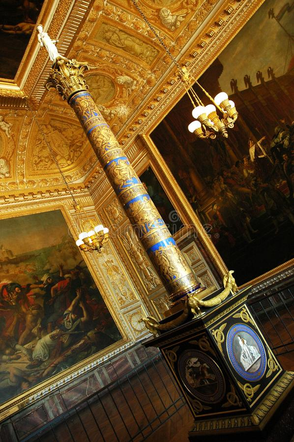 Coronation Room Column located in Versailles Castle, Paris. PARIS, FRANCE - JUL 23 2018: View of Coronation Room Column located in Versailles Castle, Paris. The stock images