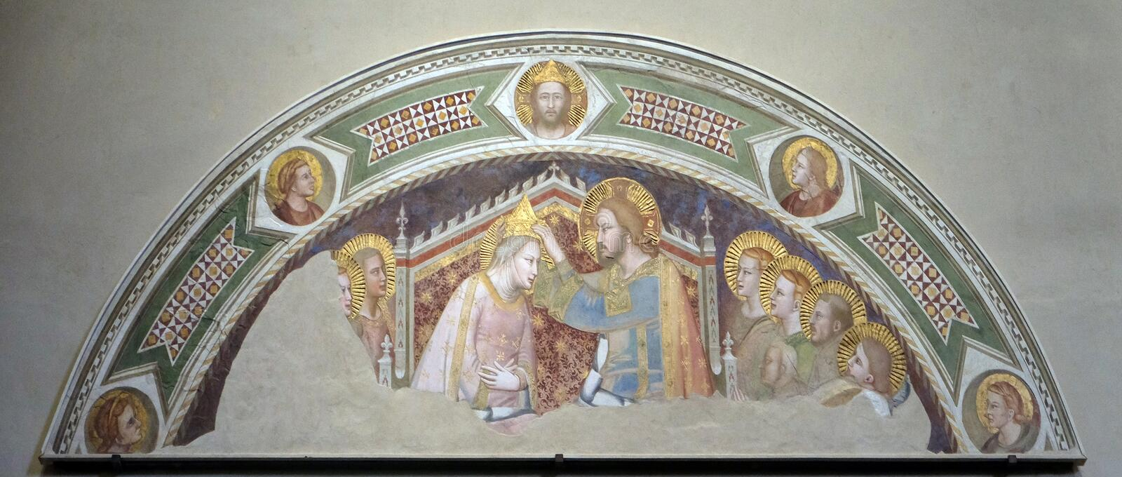 Coronation of the Virgin, Basilica di Santa Croce in Florence stock image
