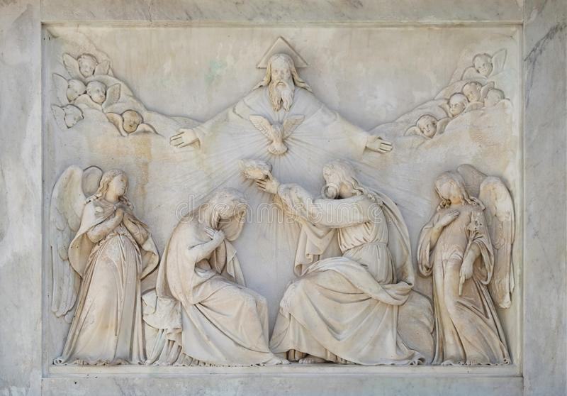 Coronation of the Virgin Mary. The Column of the Immaculate Conception on Piazza Mignanelli in Rome, Italy stock image