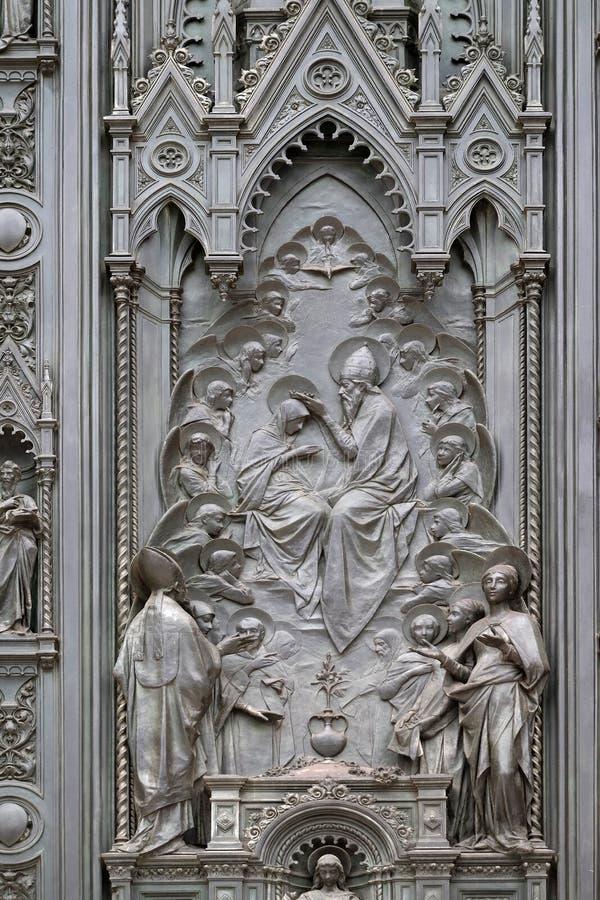 Coronation of the Virgin Mary stock photo
