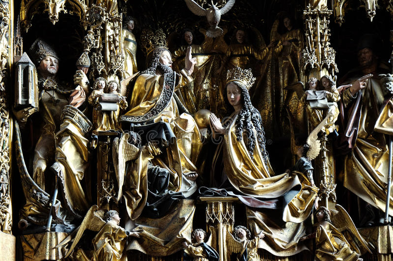 Coronation of the Virgin Mary. Main altar in Parish church in St. Wolfgang on Wolfgangsee in Austria on December 14, 2014 stock image