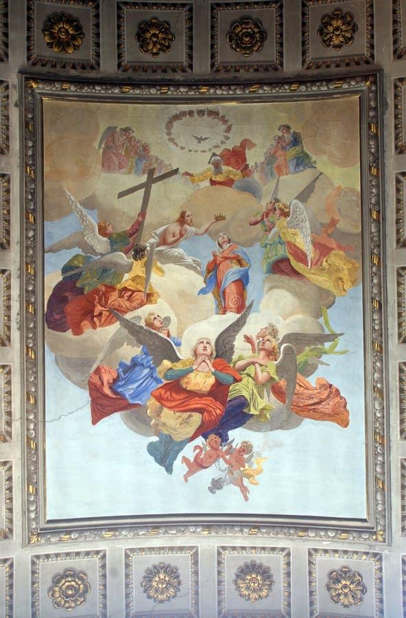 Coronation of Virgin Mary. Painting on church altar royalty free stock photos
