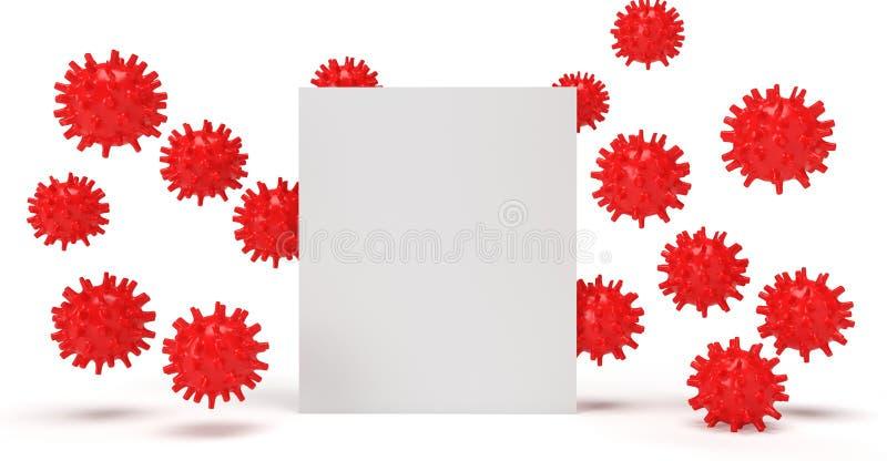 Coronavírus 3D com cartaz ilustração stock