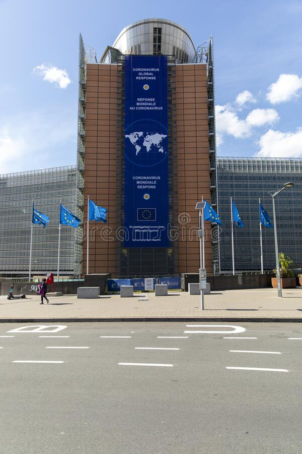 Free Coronavirus Banner Displayed On The Front Of The The Headquarters Of The European Commission Royalty Free Stock Photography - 181259357