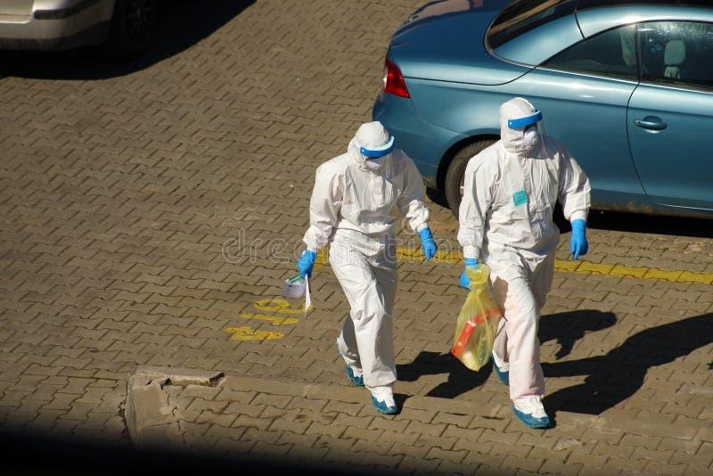 Coronavirus, bescherming tegen de uitbraak van Covid-19 in Italië royalty-vrije stock foto