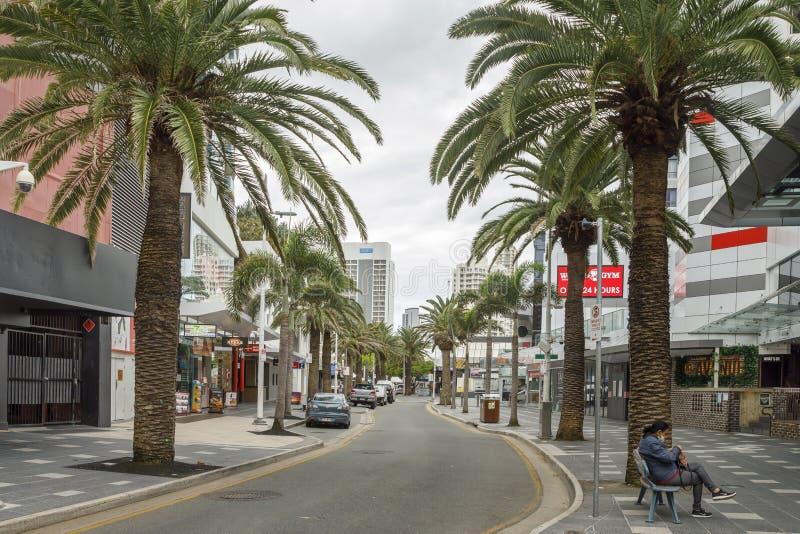 Coronavirus blokuje puste ulice Surfers Paradise, Gold Coast Australia zdjęcia stock