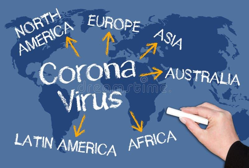 Coronavirus concept on blue world map background stock image