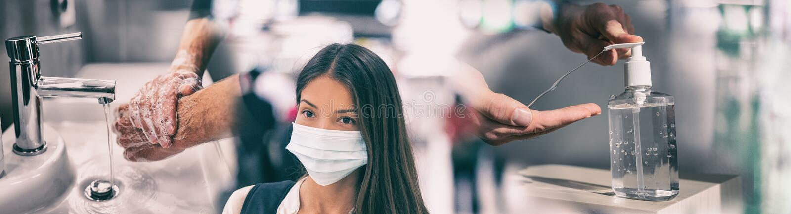 Coronavirus corona virus prevention for COVID-19 banner. Hand sanitizer alcohol gel rub vs washing hands hygiene in. Hospital or Asian women wearing face mask stock images