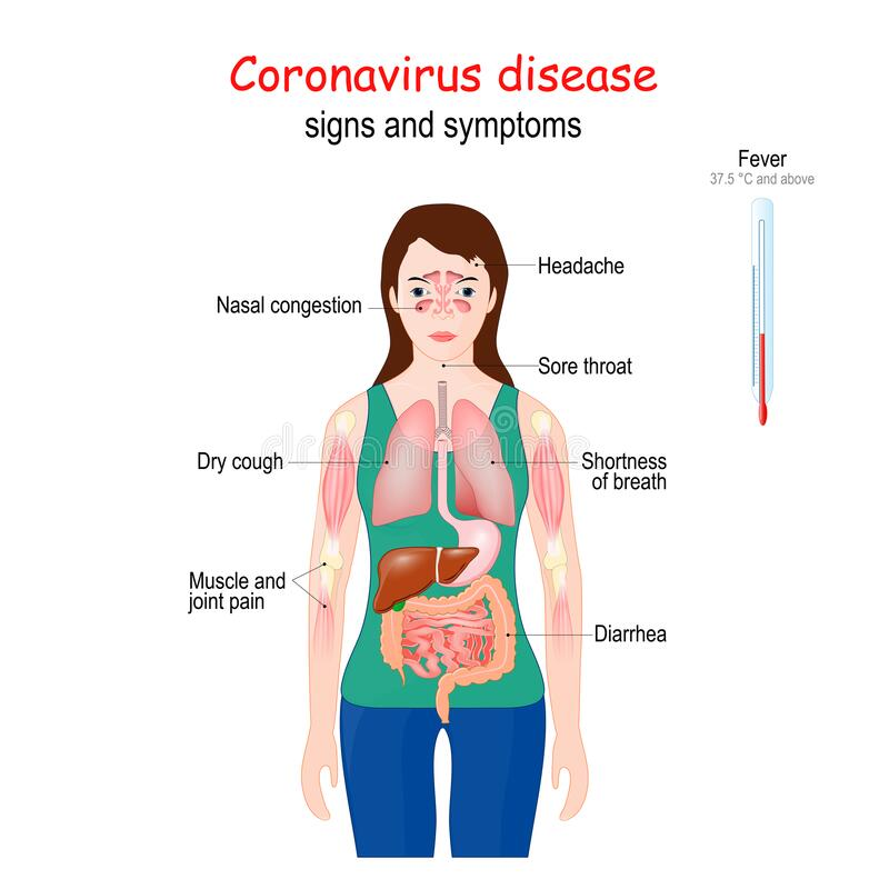 Free Coronavirus. COVID-19. Signs And Symptoms Of  A Disease Royalty Free Stock Images - 176966029