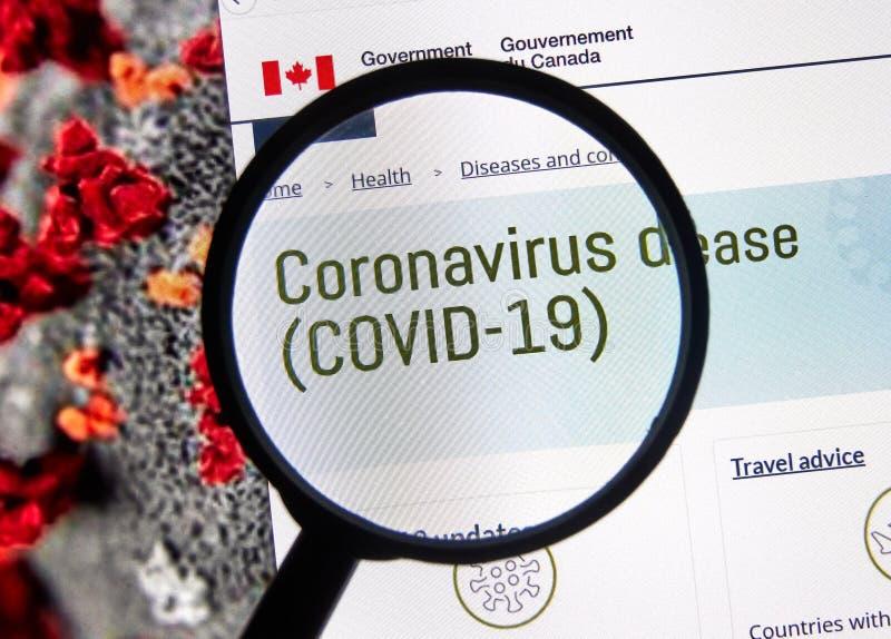 Coronavirus COVID-19 informacje na stronie rządu Kanady obraz stock