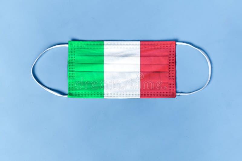 Coronavirus, Covid–19 in Italy. mask from coronavirus with Italian flag.  stock photography
