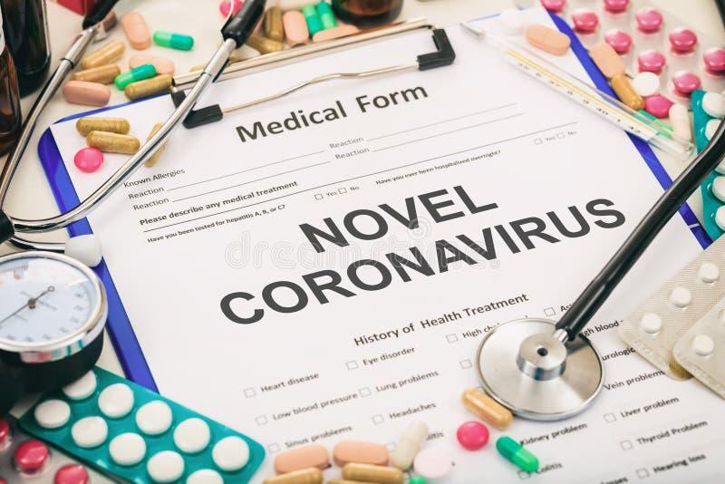 Coronavirus. Diagnosis novel coronavirus flu, medical form. 3d illustration. Coronavirus. Medical form, diagnosis novel coronavirus flu, pandemic virus infection stock photo