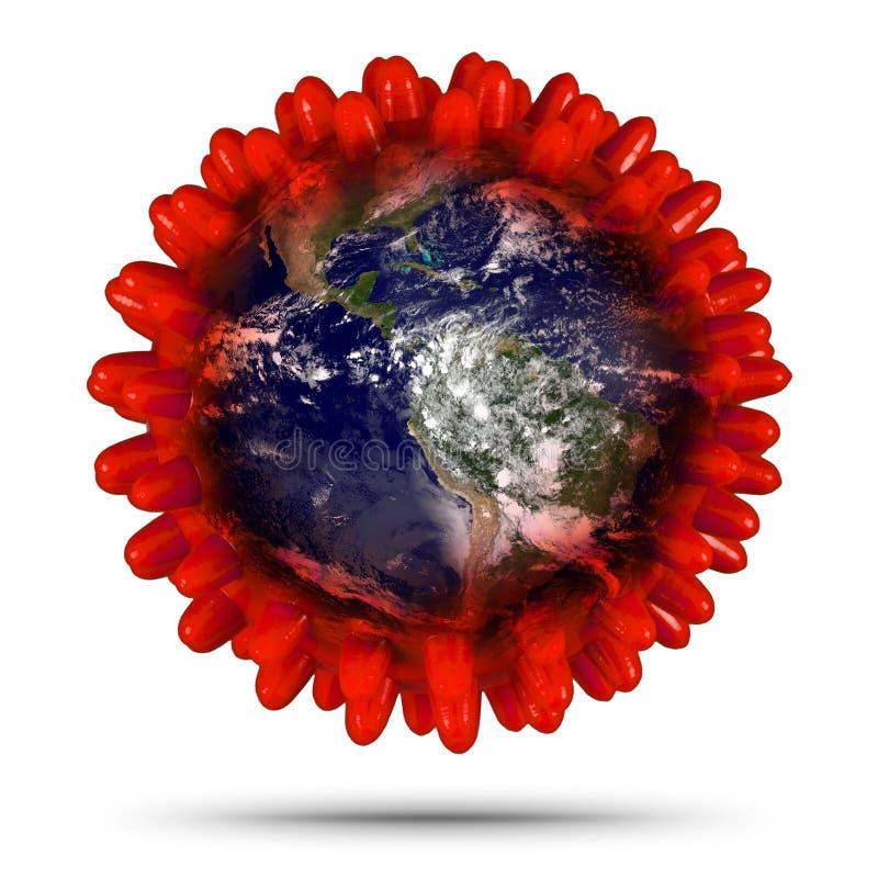 Coronavirus Covid-19 mundo de la Tierra Roja Concepto médico epidémico epidémico del virus de la corona Elementos de esta imagen foto de archivo libre de regalías
