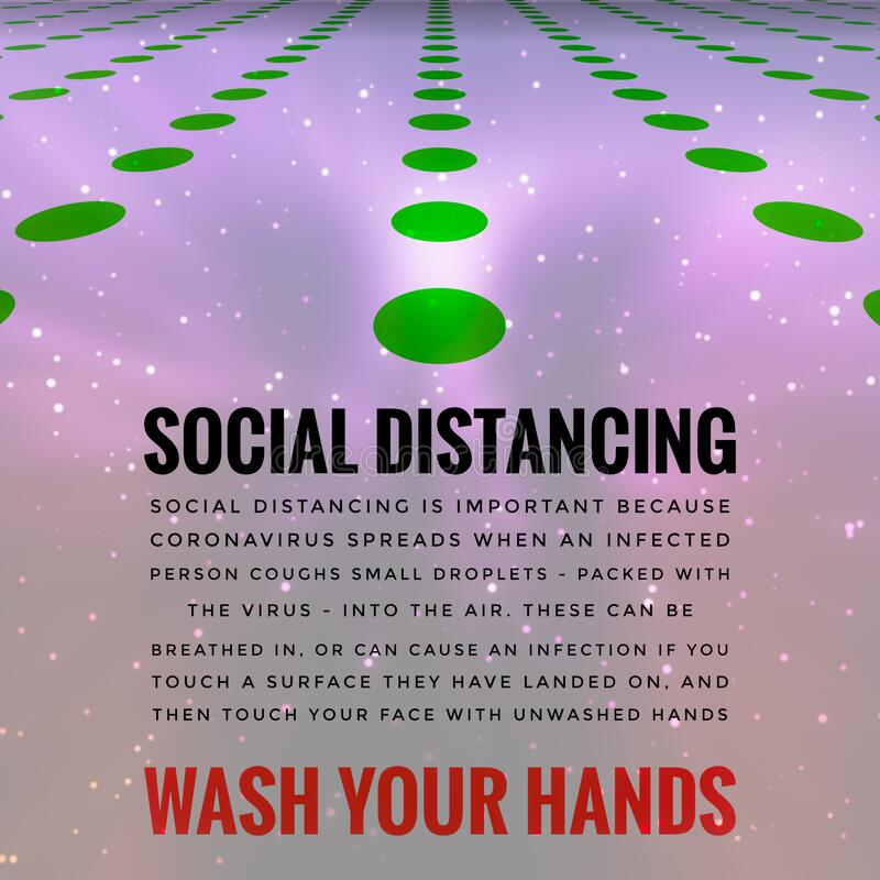 Covid-19 Outbreak Messages Social Distancing & Wash Hands royalty free stock image