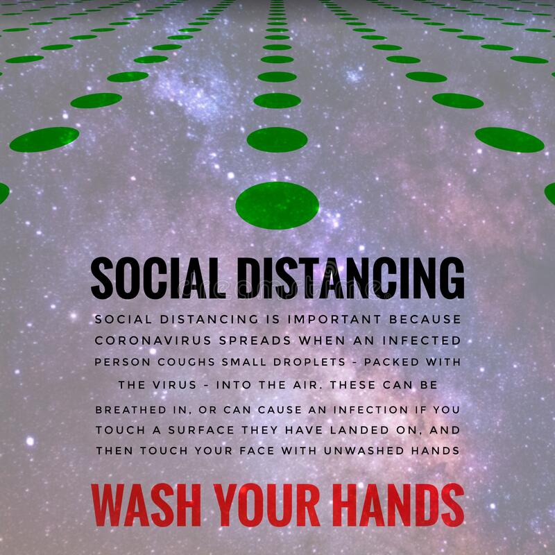 Covid-19 Outbreak Messages Social Distancing & Wash Hands royalty free stock photography