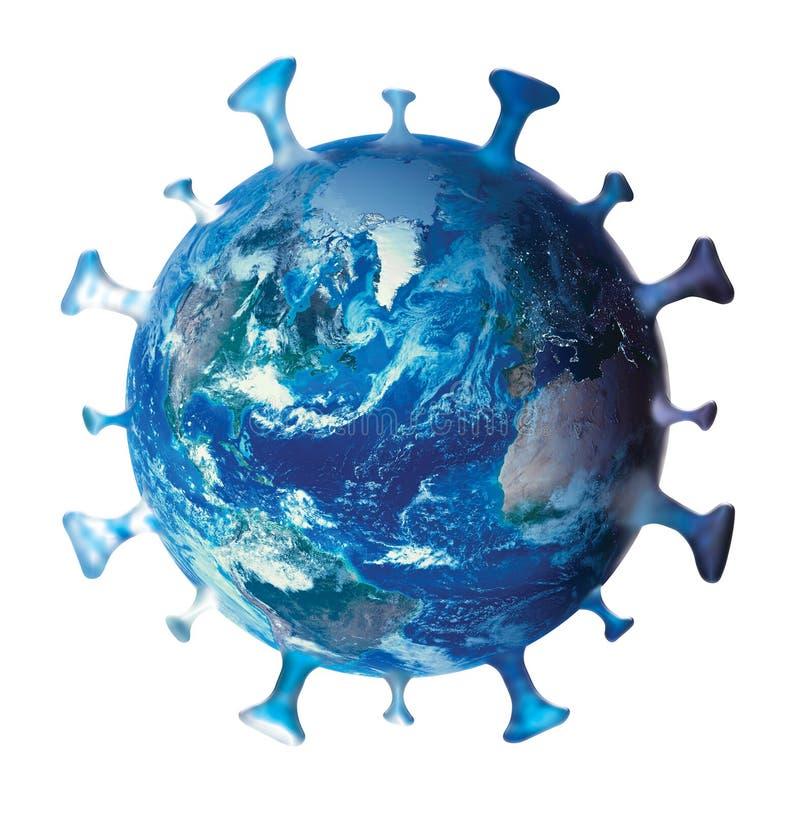 Coronavirus, COVID-19, Simbolo, logo, icona, con pianeta terra isolato su bianco Concetto globale di infezione da coronavirus immagini stock libere da diritti