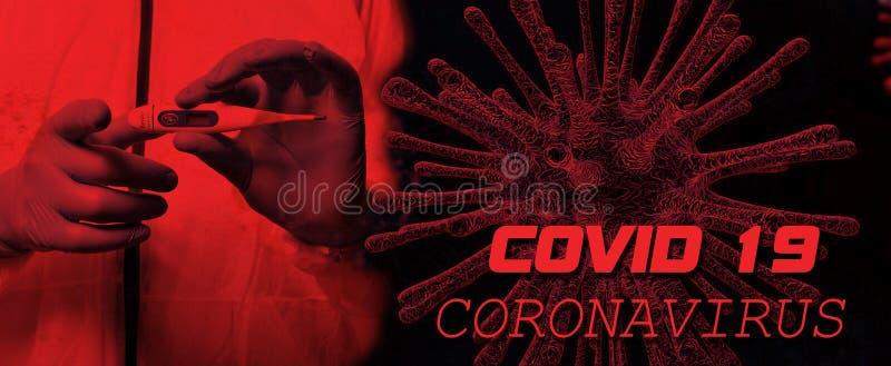 Coronavirus Covid 19 Testo di avviso mondiale fotografia stock libera da diritti