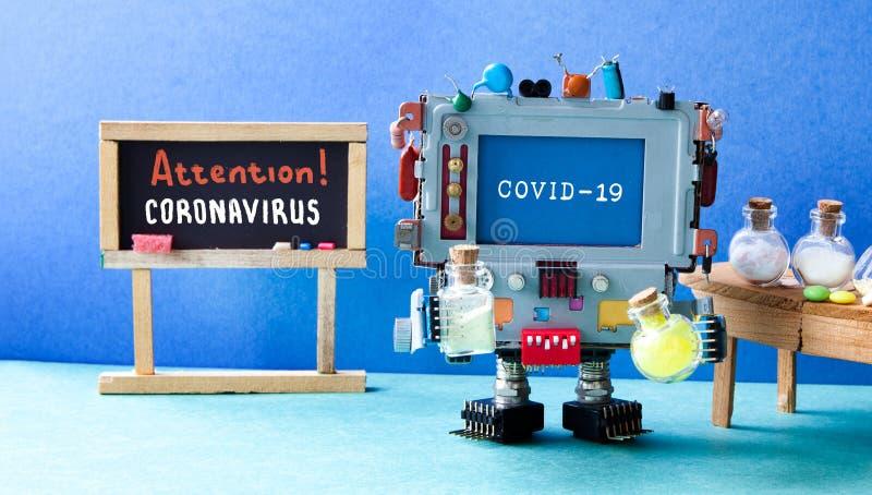 Coronavirus COVID 19 Un ordinateur de recherche robotisé contient des tubes d'essai Tableau noir avec l'écriture manuscrite photo libre de droits