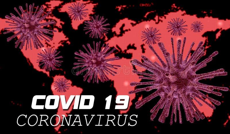 Coronavirus Covid 19 Varningstext och karta över hela världen