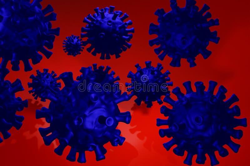 Coronavirus 3D, cepa del coronavirus Covid19, brote pandémico, concepto de propagación del país Representación 3D stock de ilustración