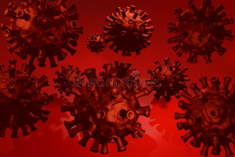 Coronavirus 3D, cepa del coronavirus Covid19, brote pandémico, concepto de propagación del país Representación 3D ilustración del vector