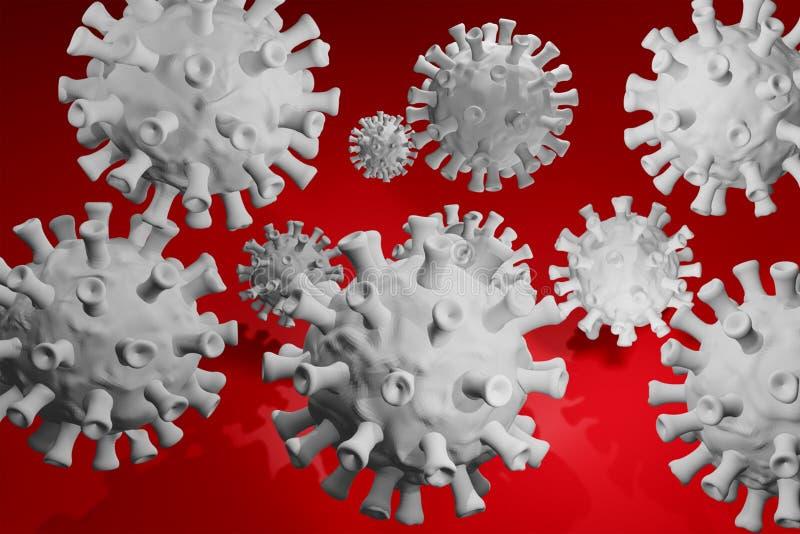 Coronavirus 3D, cepa del coronavirus Covid19, brote pandémico, concepto de propagación del país Representación 3D libre illustration