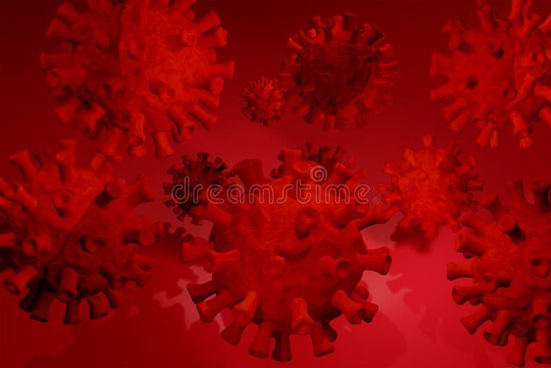 Coronavirus 3D, cepa del coronavirus Covid19, brote pandémico, concepto de propagación del país representación 3D, libre illustration