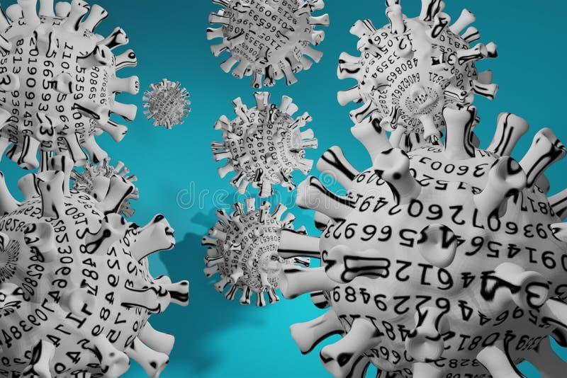 Coronavirus 3D, cepa del coronavirus Covid19, brote pandémico, concepto de propagación del país Representación 3D Estadísticas de ilustración del vector