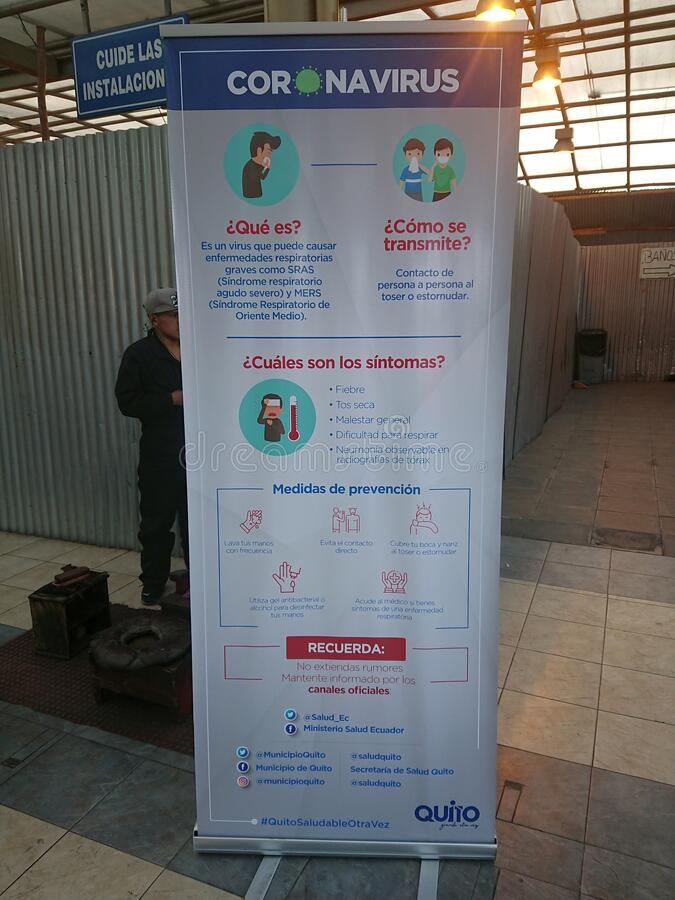 Coronavirus emergency info sign in Quito bus station 13.02.2020 royalty free stock photography