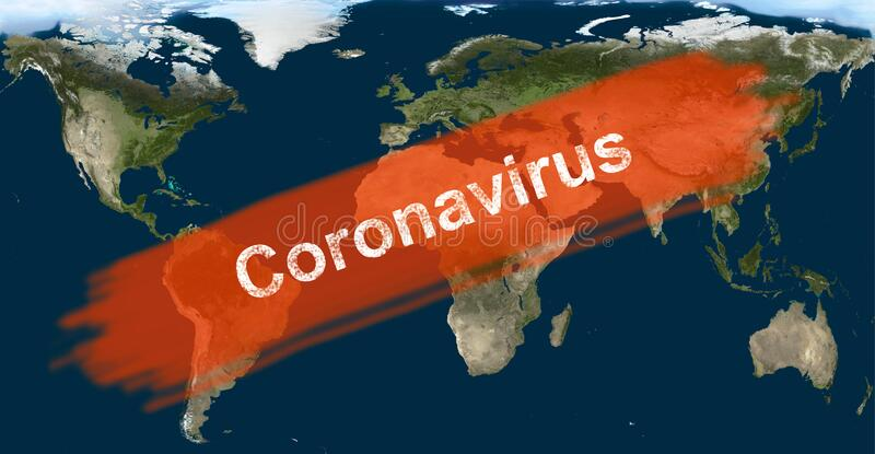 Coronavirus-Epidemie, Wort COVID-19 auf der globalen Karte Neuartige Koronavirus-Ausbrüche in China Verbreitung des Corona-Virus  vektor abbildung