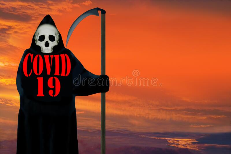 Coronavirus Ghost of death. Dramatic sky background. stock photo