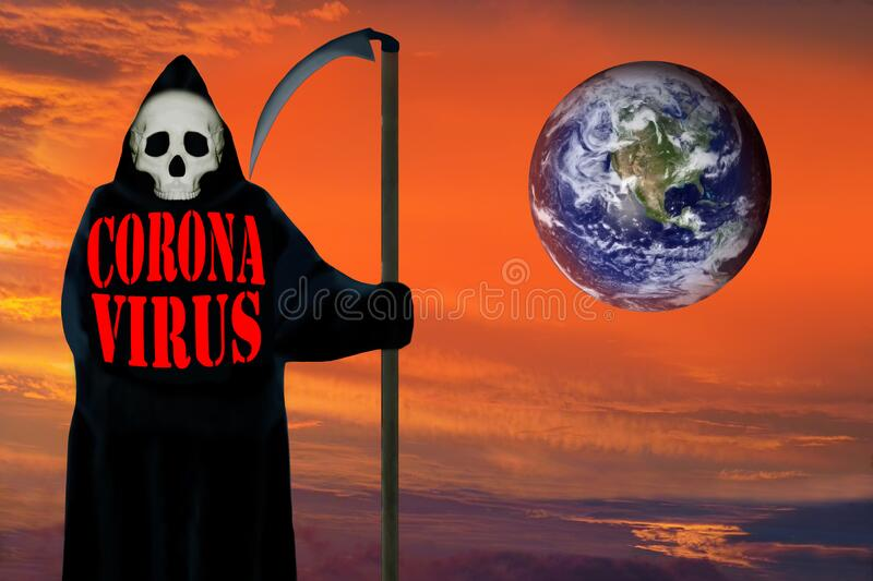 Coronavirus Ghost of death. Dramatic sky background. stock images