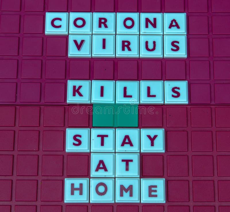 Coronavirus KILLS stay at home. Board game platform with letters spelling `CORONAVIRUS KILLS STAY AT HOME stock photos