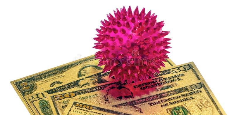 Coronavirus 2019-nCov novel coronavirus koncept Dollarsedlar guld isolerat i bakgrunden royaltyfri bild