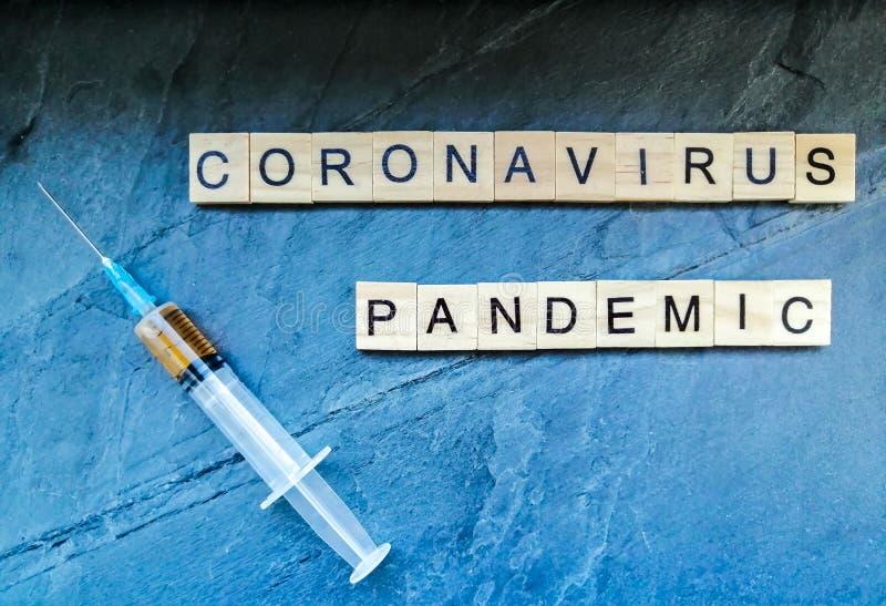 Coronavirus pandemic on blue background stock images