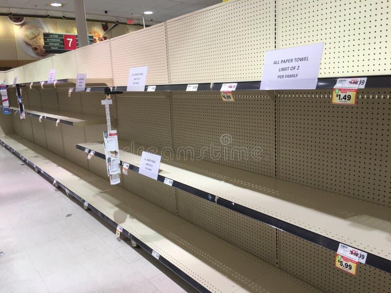 Coronavirus Panic Empties Shelves royalty free stock photo